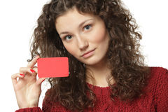 Girl showing blank credit card Royalty Free Stock Photography