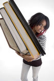 Girl showing books Stock Image