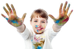 Girl showing colorful hands to camera Stock Images