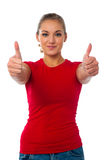 Girl showing double thumbs up Royalty Free Stock Photography