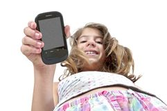 Girl showing down mobile phone with clipping path Stock Image