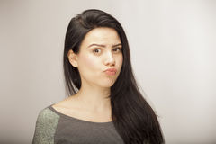 Girl showing emotion with facial features Royalty Free Stock Photo