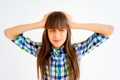 Girl showing emotions. A portrait of a girl showing different emotions stock photos