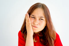 Girl showing emotions. A portrait of a girl showing different emotions stock photo