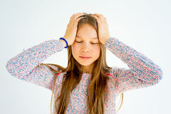 Girl showing emotions. A portrait of a girl showing different emotions stock photography