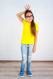 Girl showing emotions. A portrait of a girl showing different emotions royalty free stock photos