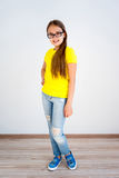Girl showing emotions. A portrait of a girl showing different emotions stock image