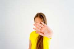 Girl showing emotions. A portrait of a girl showing different emotions stock images