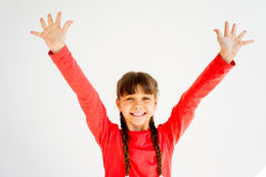 Girl showing emotions. A portrait of a girl showing different emotions royalty free stock photo