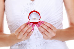 Girl showing engagement or wedding ring, isolated Royalty Free Stock Photo