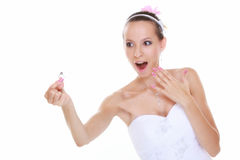 Girl showing engagement or wedding ring, isolated Royalty Free Stock Photography
