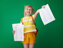 Girl showing an excellent grade test after several failure Stock Image
