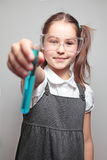 Girl showing experiment results Royalty Free Stock Image