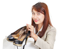 Girl showing fashion shoes Stock Images