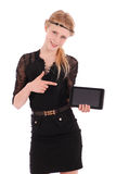 Girl showing finger on a tablet pc Royalty Free Stock Images