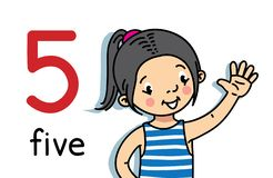 Free Girl Showing Five By Hand. Counting Education Card Royalty Free Stock Image - 145304136