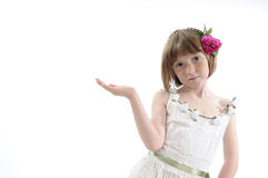 Girl showing with hand Stock Image