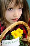 Girl Showing Happy Easter Message Royalty Free Stock Images