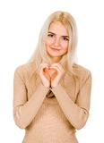 Girl showing heart symbol Royalty Free Stock Photo
