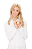 Girl showing heart symbol Royalty Free Stock Photography