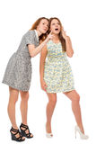 Girl showing her friend something amazing. On a white background royalty free stock image