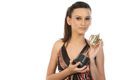 Girl showing her gold trophy Stock Image
