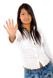 Girl showing her hand Stock Image