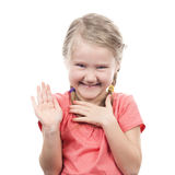 Girl showing her hand up Stock Photography