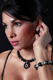 Girl showing her jewelry Royalty Free Stock Photos