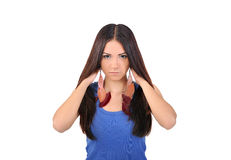 Girl showing her shiny hair Stock Image