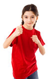 Girl showing his fist Royalty Free Stock Photos
