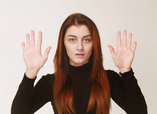 Girl showing impotence hand sign gesture (Body language, gesture Stock Photos