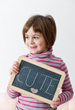 Girl Showing a Message Royalty Free Stock Image