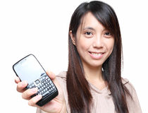 Girl showing mobile phone Stock Photos