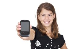 Girl showing mobile phone with clipping path Stock Photos