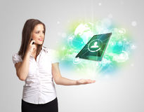 girl showing modern green tablet technology concept Stock Photos