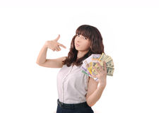 Girl showing money Stock Images