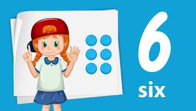 Girl showing number six stock illustration