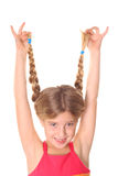 Girl showing off braided hair vertical upclose Royalty Free Stock Image
