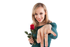 Girl showing off diamond ring Royalty Free Stock Photos