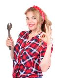 Girl showing ok hand gesture pinup Stock Image
