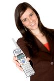 Girl showing a phone Stock Image