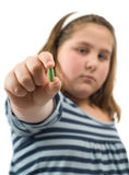 Girl Showing Pill Stock Photography