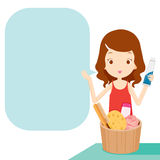 Girl showing product with speech bubble Stock Photos