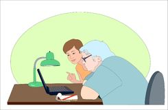Girl  showing puzzled elderly woman how to use lap. Closeup images of young girl coach and puzzled elderly woman. They sit at the table. There are laptop and Royalty Free Stock Photo