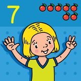 Girl showing seven by hand Counting education card. Card 7. Girl in t-shirt on blue background. Kid`s hands showing the number seven hand sign. Childrens vector Royalty Free Stock Photography