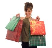 Girl, showing the shopping bags Stock Photos