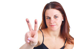 Girl showing sign of victory Royalty Free Stock Photo