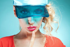 Girl showing silent sign. Royalty Free Stock Photography