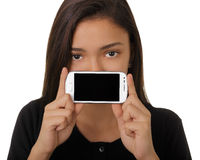 Girl Showing Smart Phone Screen Stock Photo